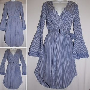 A New Day Blue Striped Tiered Sleeve Wrap Dress S